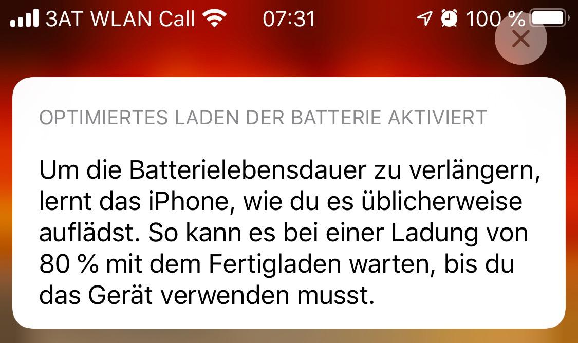 Batterie Lebensdauer iPhone Mitteilung